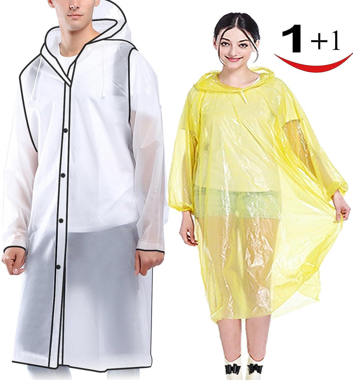 Suzzam Rain Ponchos, 23 Pack Raincoats for Adults Kids, EVA Durable Waterproof Travel Rain Jackets, Reusable Breathable Rainwear with Hood Sleeves