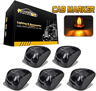 Partsam 5PCS Smoke Lens Amber LED Cab Roof Top Marker Lamps Running Lights Assembly Compatible with Ford F250 F350 F450 F550 Super Duty 1999-2016/E350 E450 2017 2018 Super Duty Pickup Truck