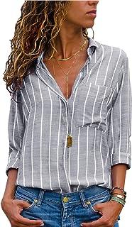 AitosuLa Bluse Gestreift Damen Hemd Oberteile V-Ausschnitt Lose Casual Chiffon Langarm T-Shirt Top Tunika Elegant Langarmshirt