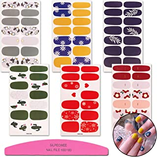 SILPECWEE 6 Sheets Nail Art Polish Stickers Tips Flower Manicure Design Adhesive Nail Wraps Decal Strips And 1Pc Nail File