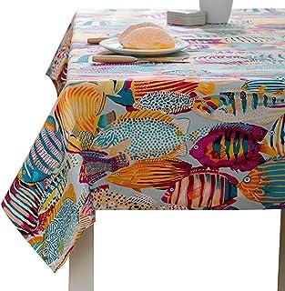 YOUJIA Rectangulaire Nappe de Table Style Moderne Marine Anti-tâche Housses Linge de Table pour Fête Café Hôtel (Marine Or...