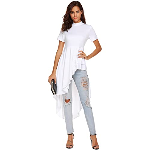 4ce1a55143e55 SimpleFun Womens Ruffle High Low Asymmetrical Short Sleeve Bodycon Tops  Blouse Shirt Dress