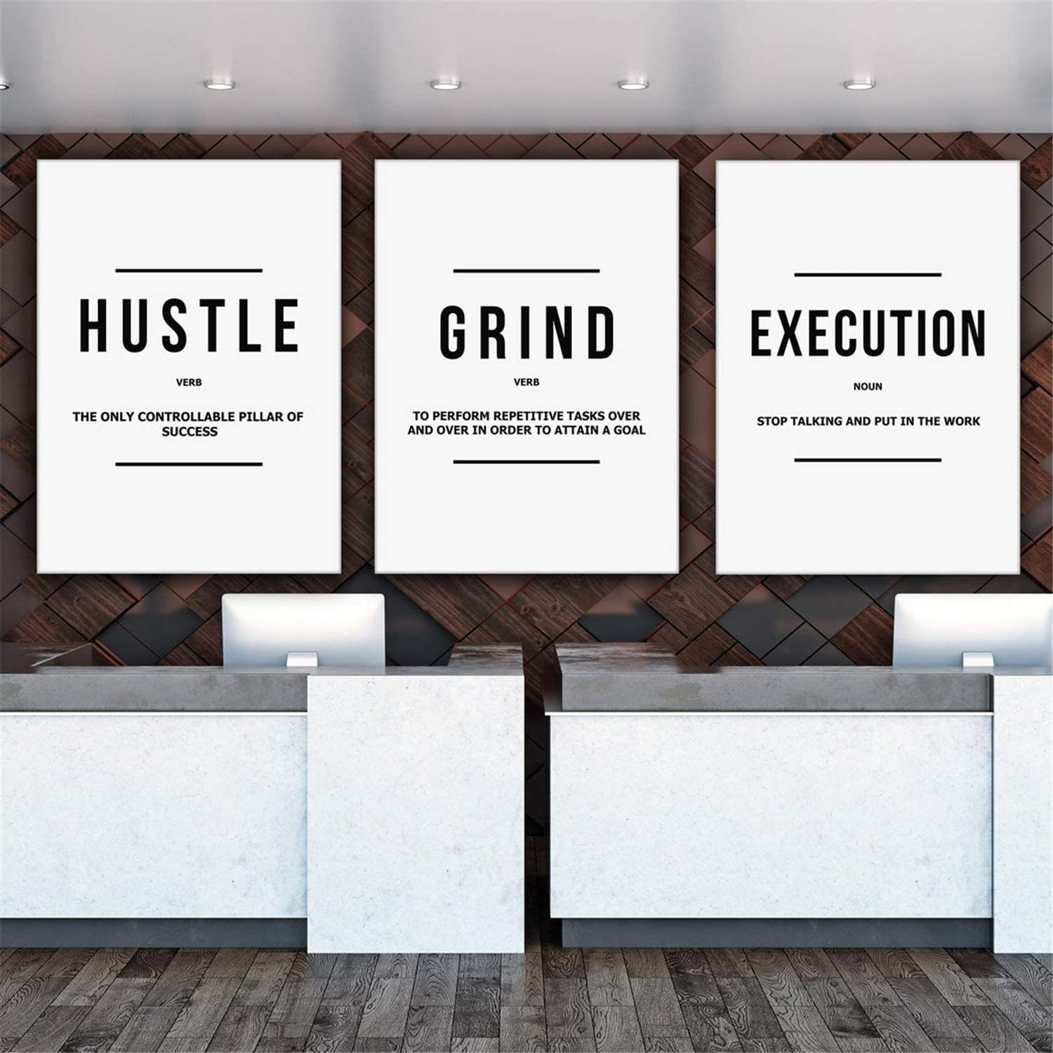 DOLUDO Cheap Popularity super special price 3 Piece Hustle Grind Execution Prints Wall Canvas Mot Art