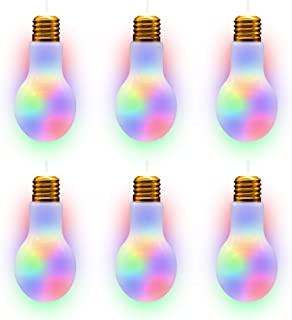 LED Light Up White Light Bulb Cup with Straw Party Supplies - 6 Pack