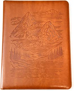 Mountains Padfolio by SohoSpark, Designer Faux Leather Portfolio, 8.5x11 Letter-Size Document Organizer, Resume Holder, Business Folder with Pen Holder