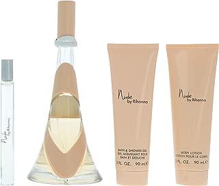 Nude by Rihanna for Women 4 Piece Set Includes: 3.4 oz Eau de Parfum Spray + 3.0 oz Body Lotion + 3.0 oz Bath & Shower Gel + 0.34 oz Eau de Parfum Spray