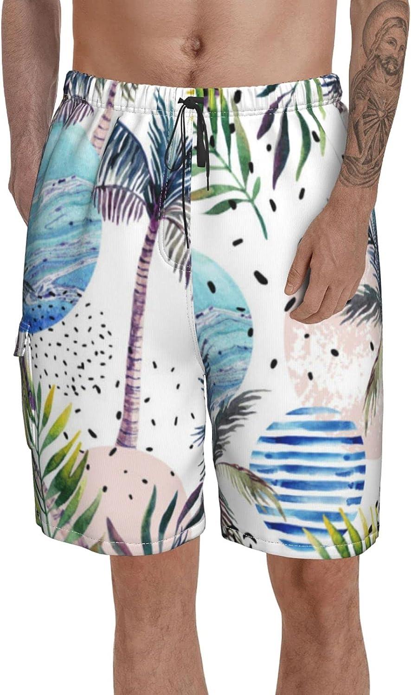 Men Swim Trunks Printed Bathing Suits Anemone Flower Elastic Waist Beach Shorts for Summer