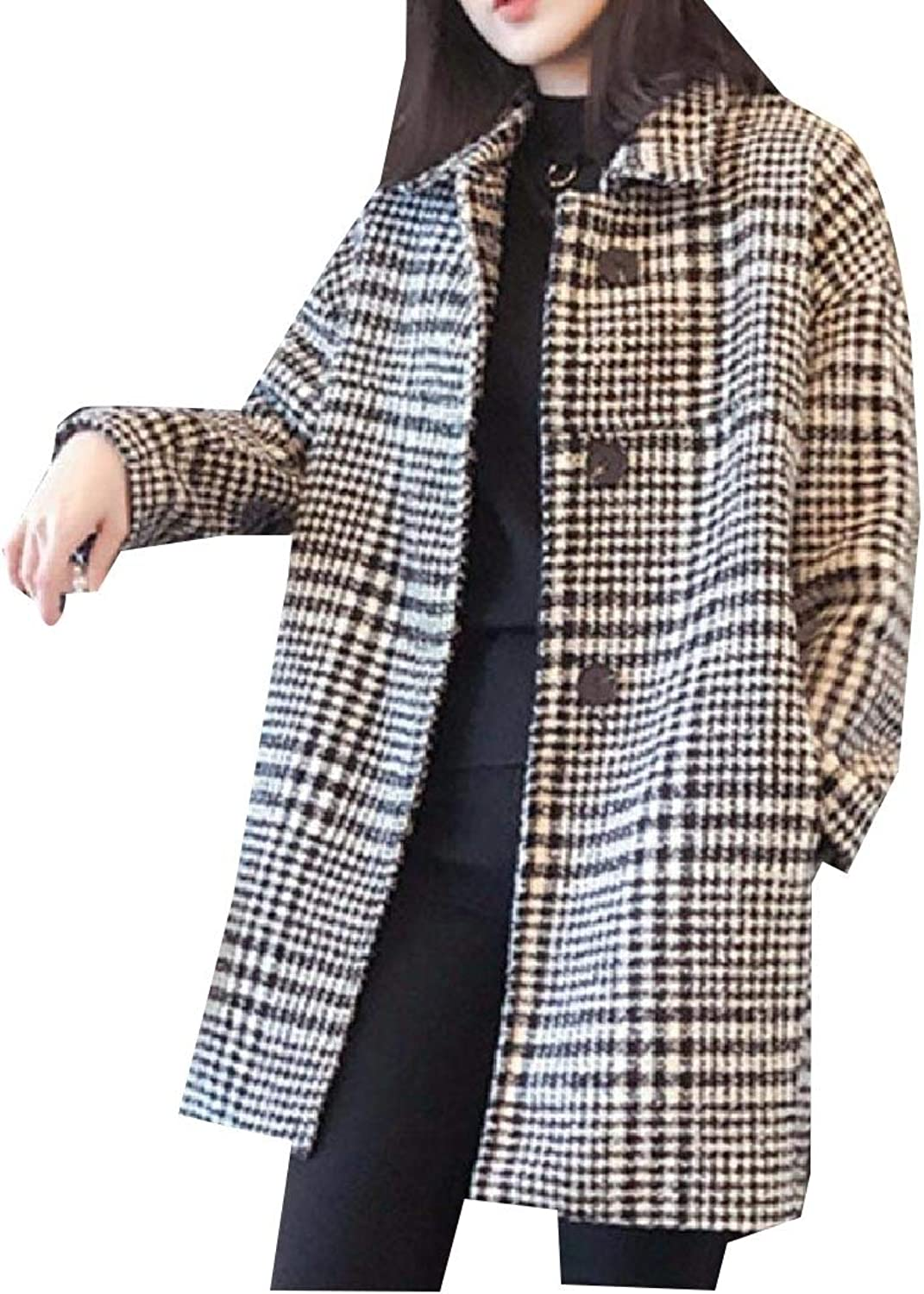Aooword Womens Overcoat Houndstooth Outerwear Classic Woolen Jacket
