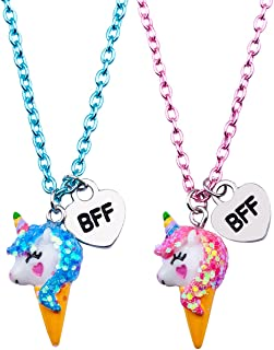 SkyWiseWin Best Friend Half Heart Necklaces for Kids, Children�s BFF Necklaces Girls Necklace for Best Friend Jewelry 2 Pair Friendship Gifts