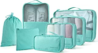 BIMNOOT Packing Cubes 7-Pcs Travel Luggage Packing Organizers Set with Laundry Bag & Shoe Bag (Pale blue)