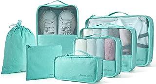 مجموعة من 7 قطع من مجموعة منظمات تعبئة الأمتعة للسفر مع حقيبة غسيل وحقيبة أحذية (أزرق باهت) من بينووت