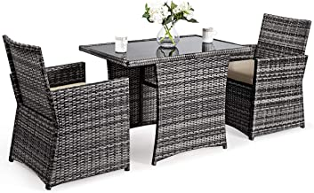 Tangkula 3-Piece Outdoor Dining Set, Space-Saving Rattan Bistro Set with Glass Top Coffee Table & 2 Cushioned Chairs, Pati...