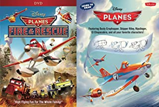 Dusty Skipper Ripslinger High Flying Fun Disney Cartoon Movie Planes Fire & Rescue DVD Animated Feature + Learn How to Draw Book Planes Soaring Set Family Bundle