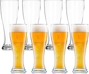 Pilsner Glasses,Encheng 16 oz Beer Glasses Set,Tall Glasses Craft Beer Glasses,Drinking Cup Beer Cup s Pint Glass,IPA Beer Glassware Cup 500ML,Dishware Safe 8 Pack
