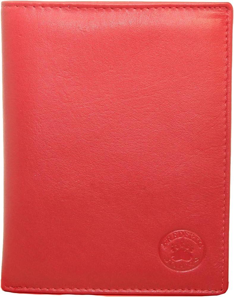 Frédéric & johns, portafoglio, portadocumenti, porta carte di credito unisex, in vera pelle, rosso