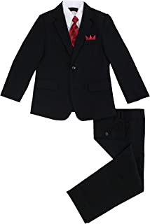 Luca Gabriel Toddler Boys' 5 Piece Pinstripe Suite Handkerchief Set