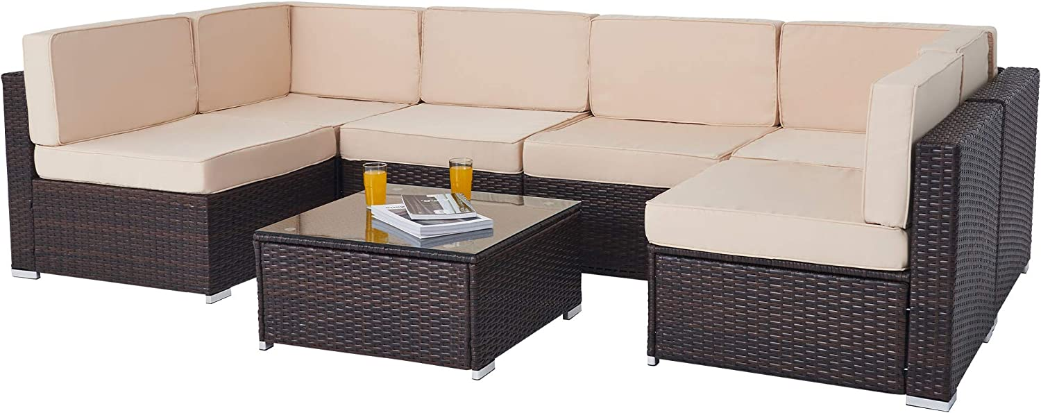 VONLUCE 7pc Wicker Patio Furniture Set, U-Shaped Sectional Sofa Set with Chairs and Glass Coffee Table, All-Weather Rattan Outdoor Furniture Set for Garden Poolside Balcony Patio Decor, Walnut & Beige