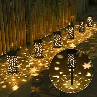 Lampe Solaire Exterieure Jardin au Sol, Tomshine 6 Pack étoiles/lune ombre, Etanche IP44, Sans Fil LED Décoration Eclairag...