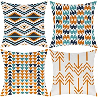 Modern Simple Geometric Style Cotton Linen Burlap Vibrant Orange Decorative Throw Pillow Covers, 18x18 Inches, Set of 4 (Orange)