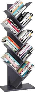 Homfa Tree Bookshelf, 9-Shelf Rack Bookcase, Artistic Free Standing Book Storage Organizer, Books/CDs/Albums/Files Holder in