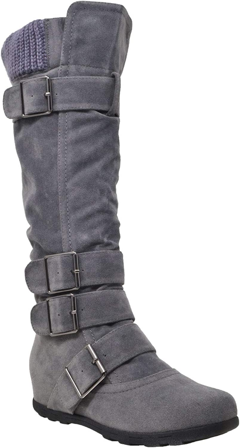 Generation Y Women's Knee High Mid Calf Boots Ruched Suede Knitted Calf Buckles Rubber Sole GY-WB-233