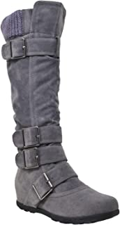 Women's Mid Calf Knee High Boots Ruched Sweater Knitted Cuff Buckles Rubber Sole