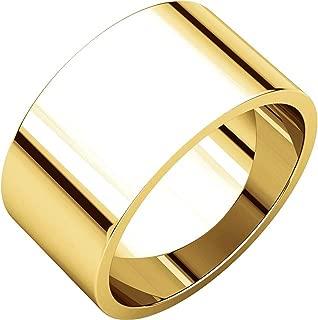 Men's and Women's 14k Yellow Gold, 10mm Wide, Flat, Plain Wedding Band