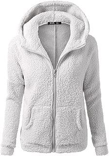 iFOMO Winter Plus Size Solid Casual Zipper Hooded Faux Fur Plush Coats for Women