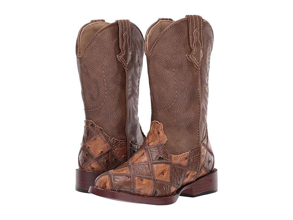 Roper Kids Bird Blocks (Toddler/Little Kid) (Patchwork Vamp/Tan Shaft) Cowboy Boots
