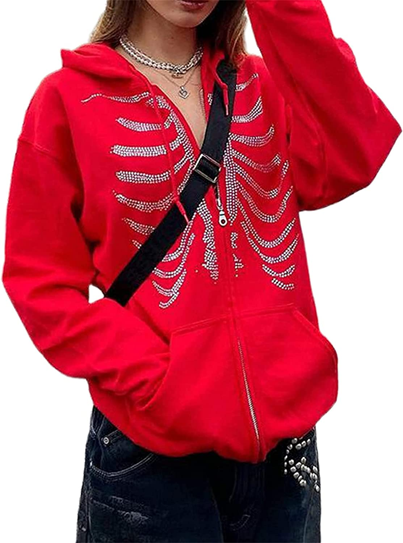 Women Y2k Zip Up Hoodie Oversized Vintage Graphic Print Pullover Sweatshirt Jackets E-Girl 90s Streetwear With Pocket