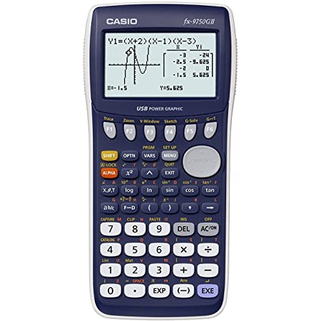 Casio fx-9750GII Graphing Calculator with icon based menu. Color white.