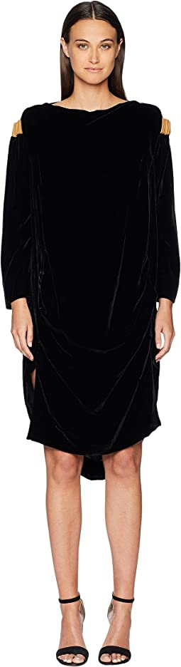 Fatima Cold Shoulder Long Sleeve Velvet Dress
