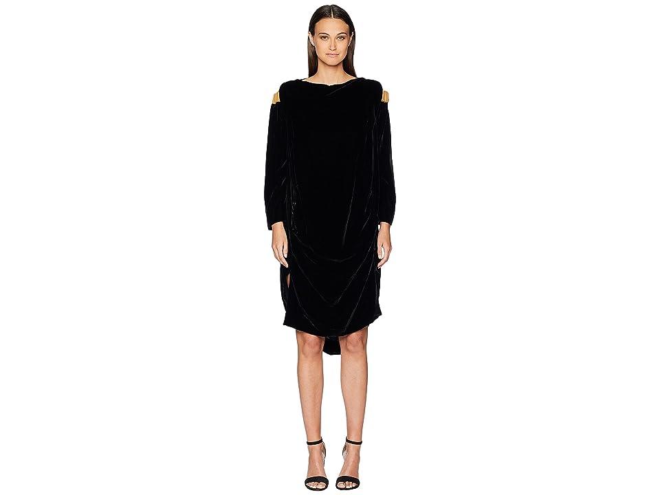 Vivienne Westwood Fatima Cold Shoulder Long Sleeve Velvet Dress (Black) Women