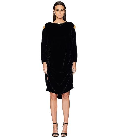 Vivienne Westwood Fatima Cold Shoulder Long Sleeve Velvet Dress