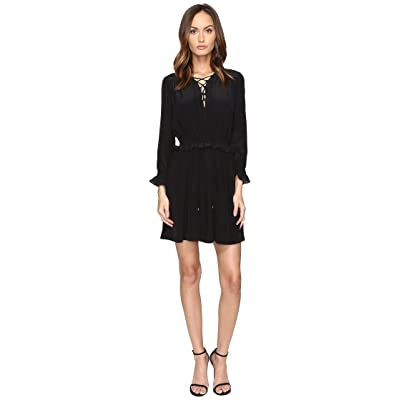 Just Cavalli Long Sleeve Tie Neck Dress (Black) Women
