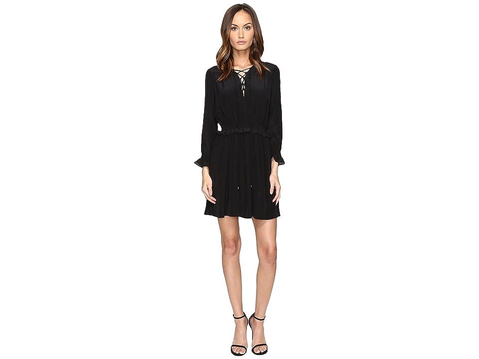Just Cavalli Long Sleeve Tie Neck Dress (Black) Women