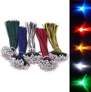 Honbay 50pcs Mixed Colour 5mm LEDs Pre Wired Light 12V 20cm Bulb