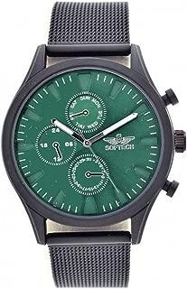 Softech Men's Gunmetal Bezel Mesh Strap Decorative Chronograph Green Face Metal Watch Analog Quartz Hook Buckle Clasp Extra Battery