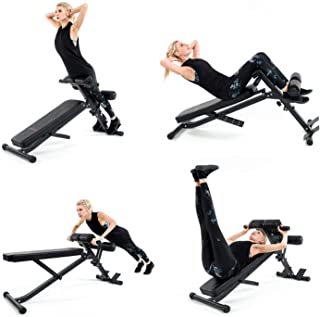 Vanswe Adjustable Ab Bench Multi-Workout Hyper Back Extension Abdominal Sit Up Bench Weight Bench with Flat/Decline/Sit Up for Commercial and Home Use