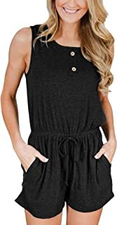 Smallwin Womens Casual Sleeveless Ruffles Scoop Neck Pocket Rompers Jumpsuits