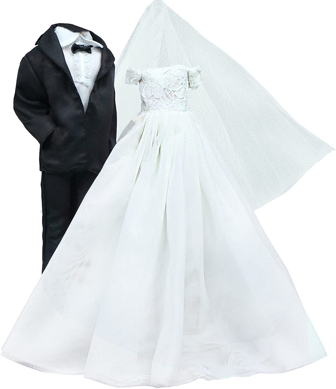 BJDBUS Wedding Max 59% OFF Set White Dress Bridal Groom service Suit and Formal Veil