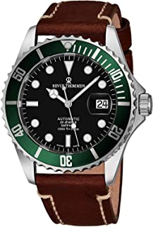 Revue Thommen Mens Automatic Diver Watch - 42mm Analog Black Face Diving Watch with Luminous Hands, Date and Sapphire Crystal - Brown Leather Band Swiss Made Waterproof Dive Watch 17571.2534