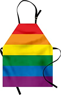 Ambesonne Pride Apron, Horizontal Rainbow Colored Flag of Gay Parade Freedom Equality Love Passion Theme, Unisex Kitchen Bib with Adjustable Neck for Cooking Gardening, Adult Size, Rainbow