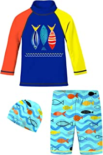 Graphic Printed Boys Swimsuit Sets Kids Two Piece Long Sleeve Rash Guard