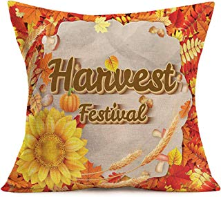 """Smilyard Happy Fall Pillows Decorative Pillow CoversHarvest Festival Quote Pillow Case Cushion Cover Cotton Linen Sunflower with Autumn Maple Leaf Outdoor Decor Home Sofa Couch 18""""x18"""" (H-Festival)"""