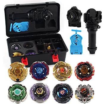 7 Piece Set Icetek Sports Fusion Top Metal Master Rapidity Fight Beyblade with 4D Launcher Grip Set