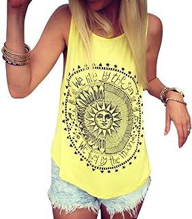 Mujer Camiseta,Sonnena Patrón de Sol Estampado sin Manga Camiseta para Mujer y Chica Joven Casual Sexy Traje de Verano Fresco para Citas Actividades al Aire Libre