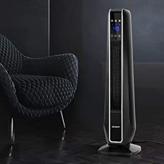 Devanti 2400W Electric Ceramic Tower Heater Portable Oscillating Floor Tower Fans with Remote Control - Black
