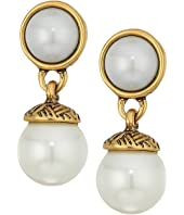 The Sak - 8mm Pearl Double Drop Earrings