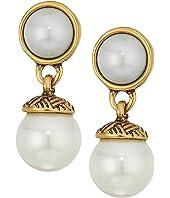 The Sak - 8mm Pearl Double Drop Earrings